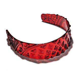 Patterned Acrylic Headband Red