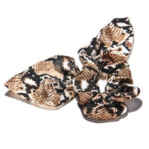 Snakeskin Bow Scrunchie Brown/Beige
