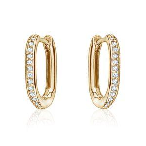 Mini oval crystal hoops - Gold