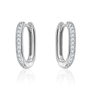 mini oval crystal hoops - silver