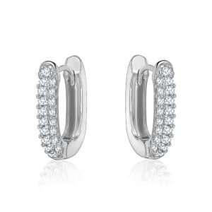 Silver Crystal Huggie